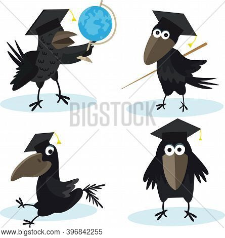Cartoon Set Crow With Bachelor Cap And Globus Vector Image