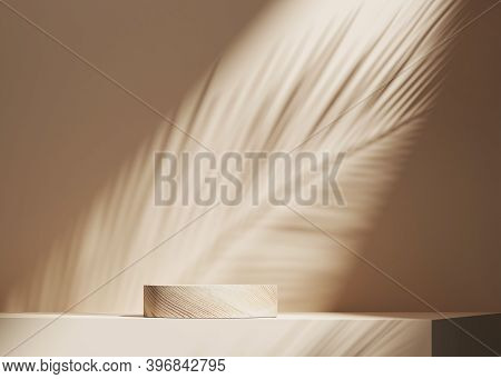 3d Background, Wood Pedestal Podium On Natural Palm Leaf Shadow Pastel Beige Backdrop. Tropical Prod