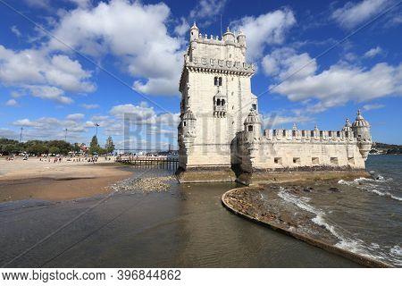 Torre De Belem In Lisbon, Portugal. Fortification On Tagus River.