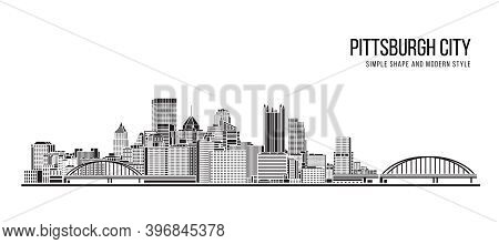 Cityscape Building Abstract Simple Shape And Modern Style Art Vector Design - Pittsburgh City
