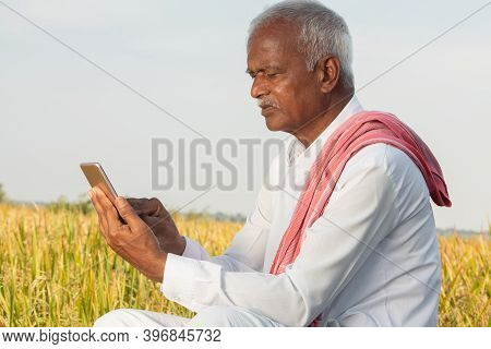 Indian Famer Using Mobile At Agricultural Farm Land - Elder Villager Using Phone - Concept Of Senior