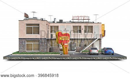 Front View On A Roadside Motel Building On A Piece Of Ground, 3d Illustration
