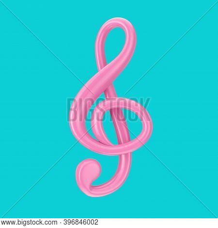 Pink Treble Clef In Duotone Style On A Blue Background. 3d Rendering