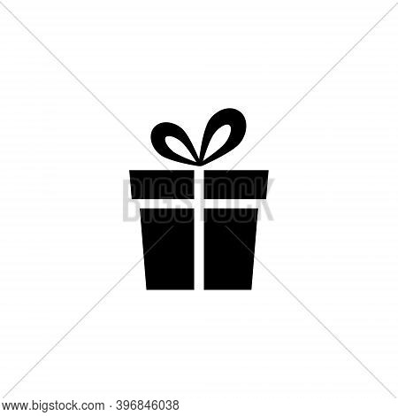 Gift Box Icon. Holiday Concept Silhouette Present Box. Vector Illustration Isolated On White.