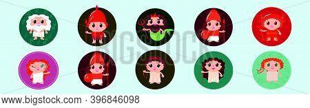 Cute Greek Godss Set. Cartoon Icon Design Template With Various Models. Modern Vector Illustration I