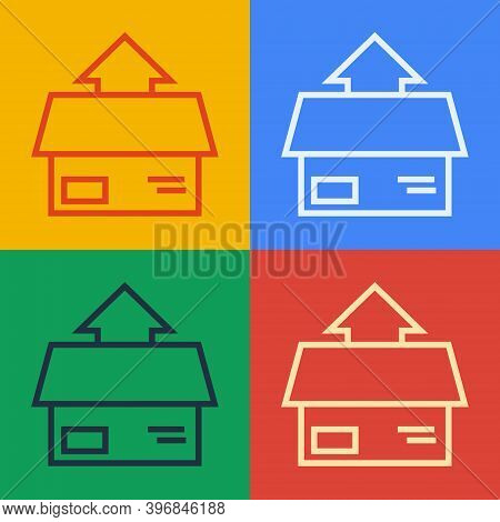 Pop Art Line Carton Cardboard Box Icon Isolated On Color Background. Box, Package, Parcel Sign. Deli