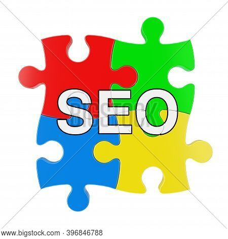 Multicolour Jigsaw Puzzles With Seo Sign On A Red Background. 3d Rendering