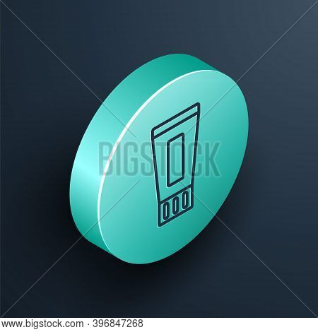 Isometric Line Tube Of Toothpaste Icon Isolated On Black Background. Turquoise Circle Button. Vector