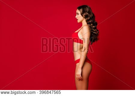 Profile Photo Of Seduce Beauty Curly Lady Slim Body Shapes Look Side Empty Space Tanned Bronze Skin