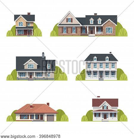 Houses Set. Suburban American Houses Exterior Flat Design Front View With Roof And Some Trees. Colle
