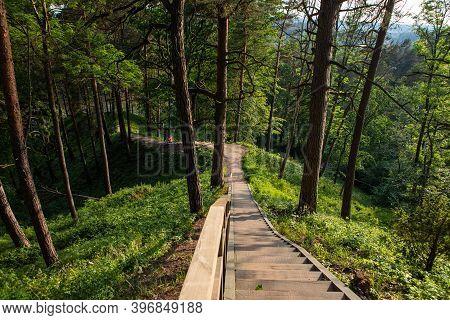 Silenai, Lithuania - June 11, 2020: The Hill Fort Of Naujoji Reva In Silenai Cognitive Park Near Vil