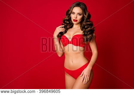 Photo Of Attractive Seductive Perfect Beauty Lady Slim Body Shapes Touch Curly Hair Wear Brassiere P