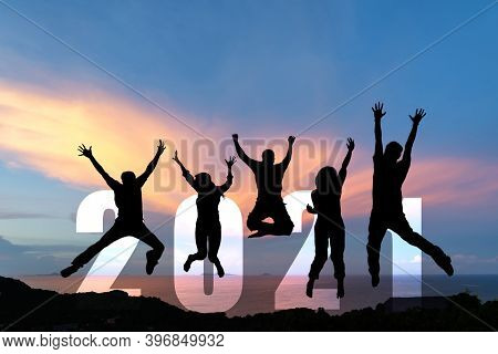 Silhouette Happy Business Teamwork Jumping Congratulation And Celebrate In Happy New Year 2021 For C