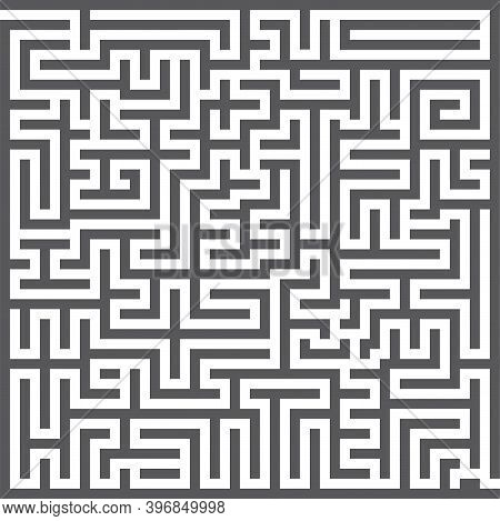 A Square Labyrinth. Maze Game. Gray Maze For Your Business Project. Vector Illustration