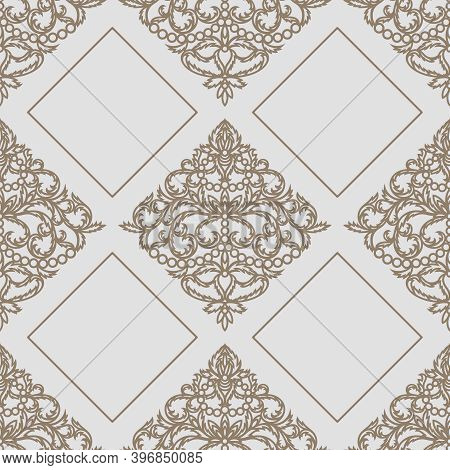 Light Gray Background With A Platinum Classic Pattern. Square Endless Texture With Elegant Floral Or