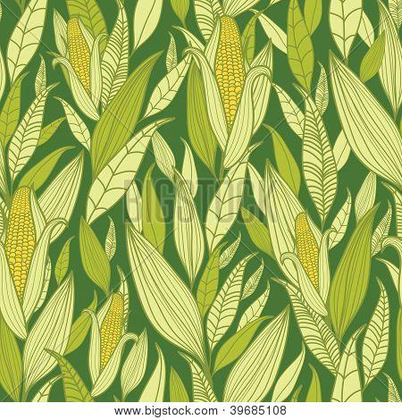 Corn plants seamless pattern background