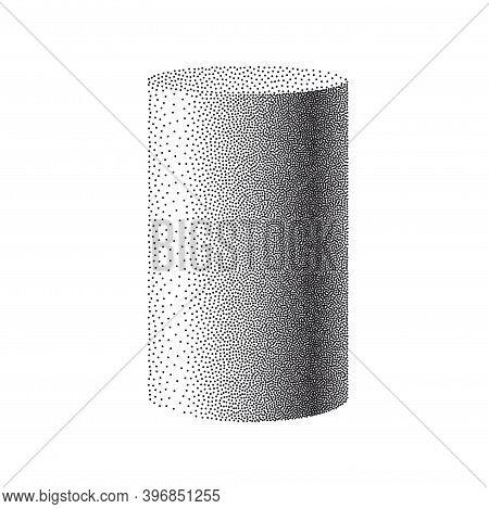 Particle Cylinder On White Background. Dotwork Cylinder For Your Business Project. 3d Cylinder Parti