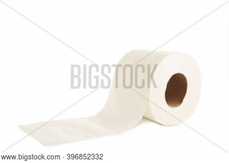 Roll Of Toilet Paper Isolated On White Background. Top View