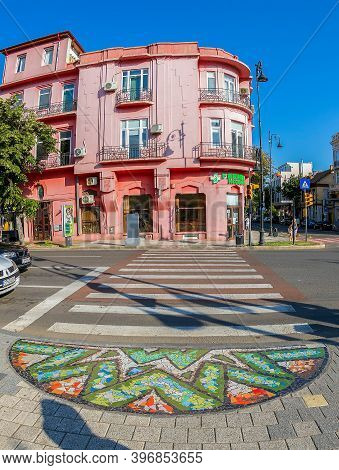 Constanta, Romania - July 15, 2020: Beautiful Street Mosaic Applied To Several Pedestrian Crossings