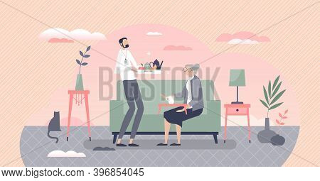 Elderly Home Care With Hired Professional Social Worker For Senior Support Tiny Person Concept. Pens