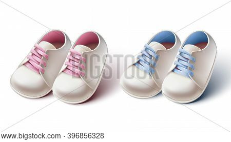 3d Realistic Collection Of Baby Girl And Boy Pram Shoes. Design Element For Baby Shower Invitations,