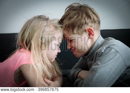 Brother And Sister Shout, Concept Of Rivalry, Dispute, Anger, Disagreement