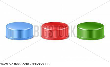 3d Realistic Collection Of Red, Green, Blue Plastic Bottle Caps In Side View. Mockup With Pet Screw