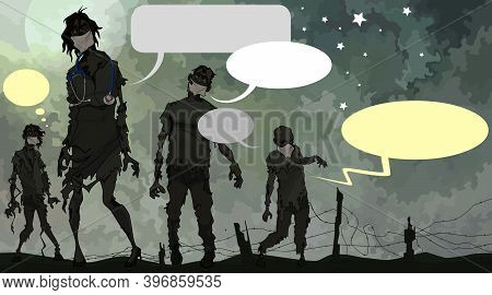 Funny Group Of Cartoon Scary Zombies In Medical Masks With Empty Speech Bubbles
