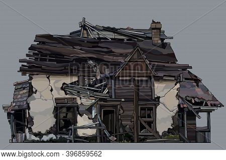 Painted Ancient Dilapidated Two-story Wooden House With Pieces Of Light Plaster