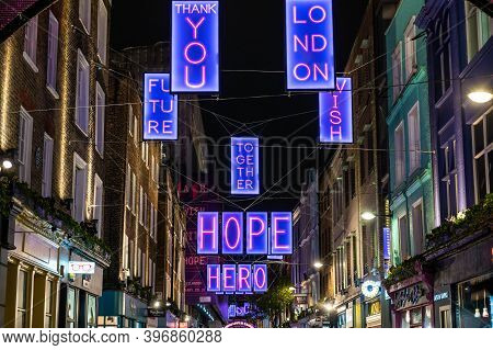London, Uk - November 1, 2020: Illuminated Positive Messages Of The Carnaby Street 2020 Christmas Li