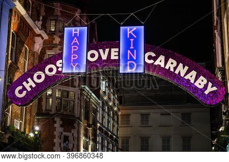 Positive Messages In Front Of Carnaby Street Illuminated Arch At The 2020 Christmas Lights Paying Tr
