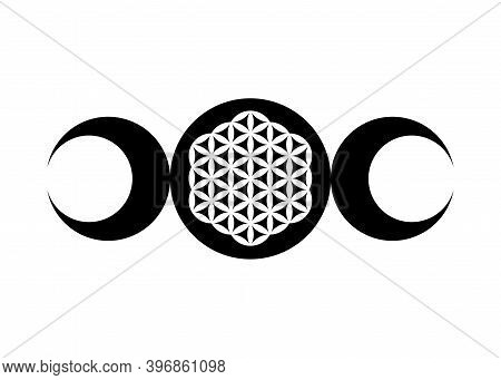 Triple Moon Religious Wiccan Sign. Wicca Logo Neopaganism Symbol, Triple Goddess And Flower Of Life