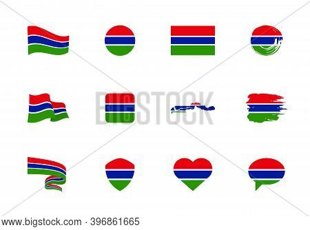 Gambia Flag - Flat Collection. Flags Of Different Shaped Twelve Flat Icons.