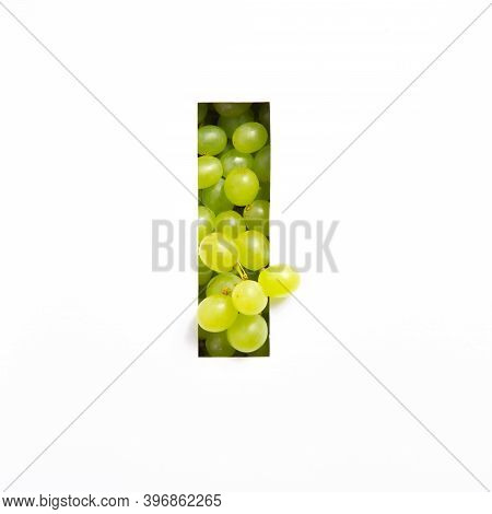 Letter I Of English Alphabet Of Fresh Grape And Cut Paper Isolated On White. Green Berries Typeface