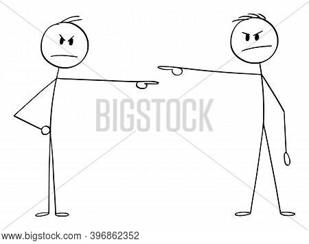 Cartoon Stick Figure Illustration Of Two Men Or Businessmen, Each Pointing And Blaming Each Other. C