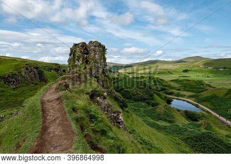 The Rocks Of Faerie Castle (castle Ewen) At The Fairy Glen In Isle Of Skye In Scotland, Uk With A Mu