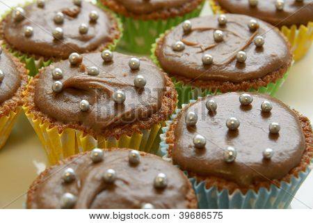 Cupcakes with chocolate icing