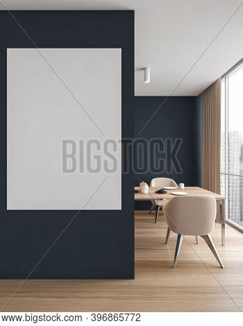 Mockup Canvas In Dining Room With Chairs And Table Near Window, Blue Walls And Wooden Parquet Floor.