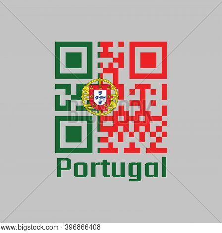 Qr Code Set The Color Of Portugal Flag, 2:3 Vertically Striped Bicolor Of Green And Red, With Coat O