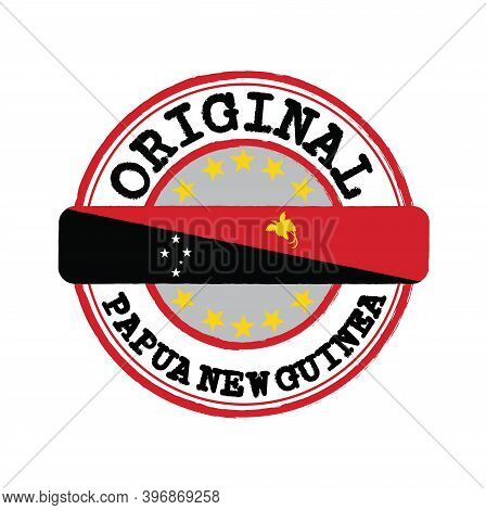 Vector Stamp For Original Logo With Text Papua New Guinea And Tying In The Middle With Nation Flag.