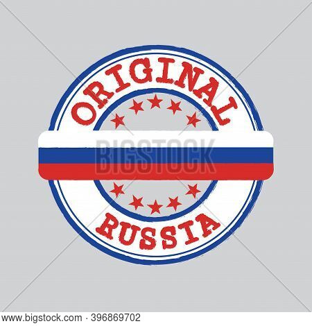 Vector Stamp For Original Logo With Text Russia And Tying In The Middle With Nation Flag. Grunge Rub