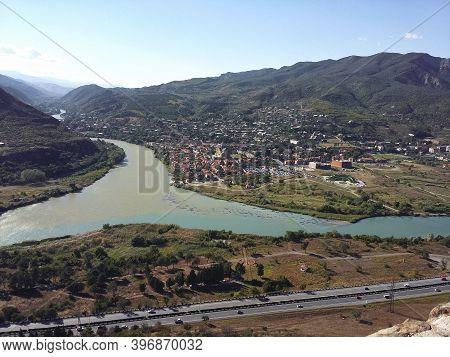 Aragvi And Kura Rivers Merging Near City Of Mtskheta In Georgia Republic