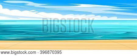 Seaside. Yellow Coastal Sand. Tidal Bore. Foamy Waves Of The Sea. Skyline With Clouds And Blue Sky.