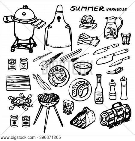 Summer Barbecue Garden Party. Vector Illustration Set. Brush Pen Design. Kitchen Tools. Food, Kitche