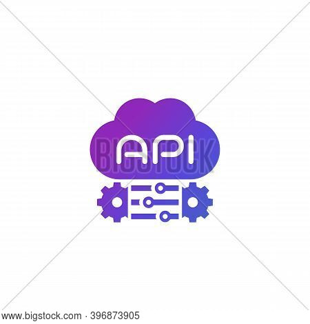 Cloud Api And Software Integration Icon, Eps 10 File, Easy To Edit