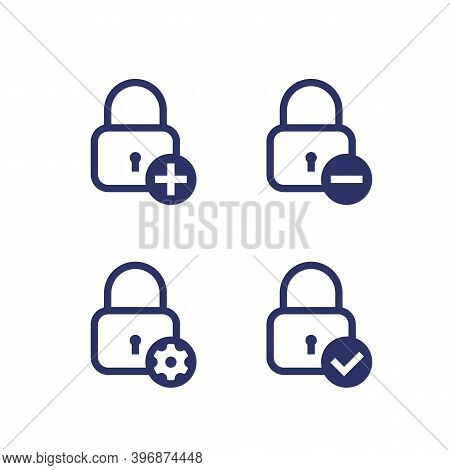 Lock With Add Sign, Minus, Gear And Tick, Security Icons On White