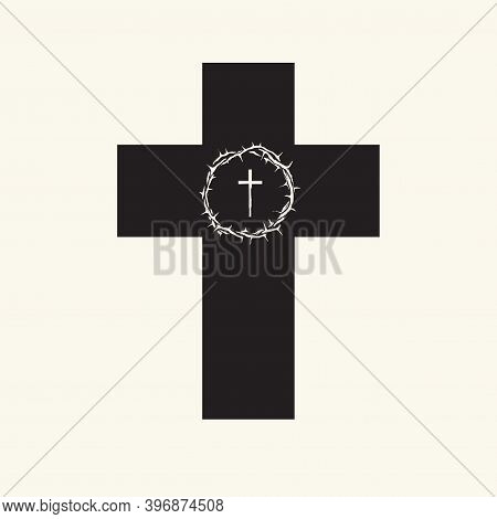 Black Religious Cross With Light Crown Of Thorns And Cross Inside. Vector Illustration Isolated On A