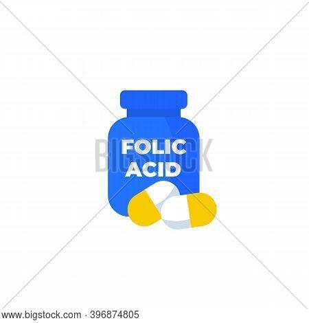 Folic Acid, B9 Vitamin Vector Icon, Eps 10 File, Easy To Edit