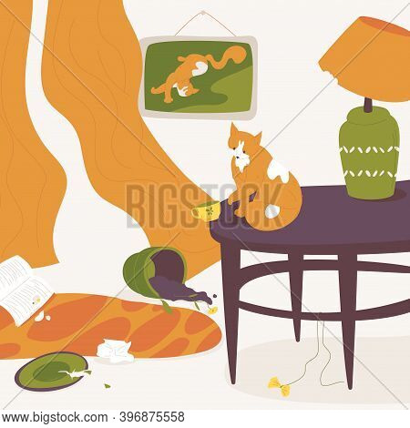Cat Destroying House Plants, Crockery And Interior. Concept Illustration With Lovely Ginger Pet Sitt