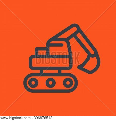 Excavator Line Icon, Eps 10 File, Easy To Edit